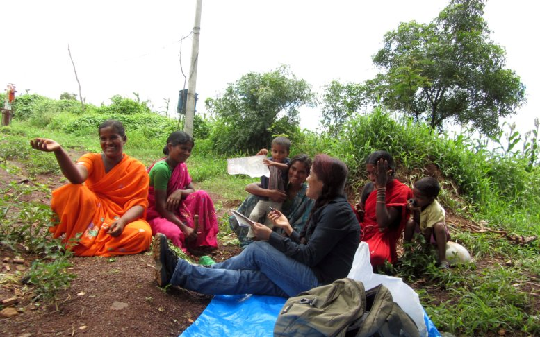 Stella Paul with women affected by climate change